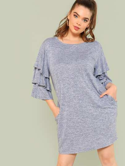 Layered Sleeve Tee Dress