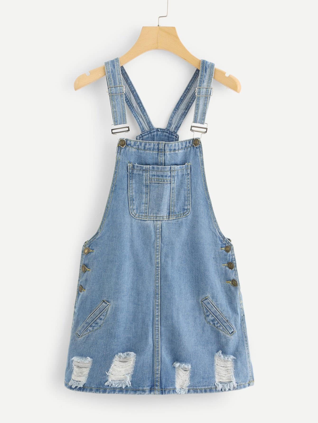 Ripped Denim Overall Dresss overall yumi overall