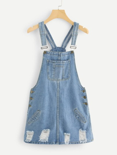 Ripped Denim Overall Dresss