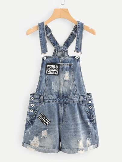 Ripped Rolled Hem Denim Overalls