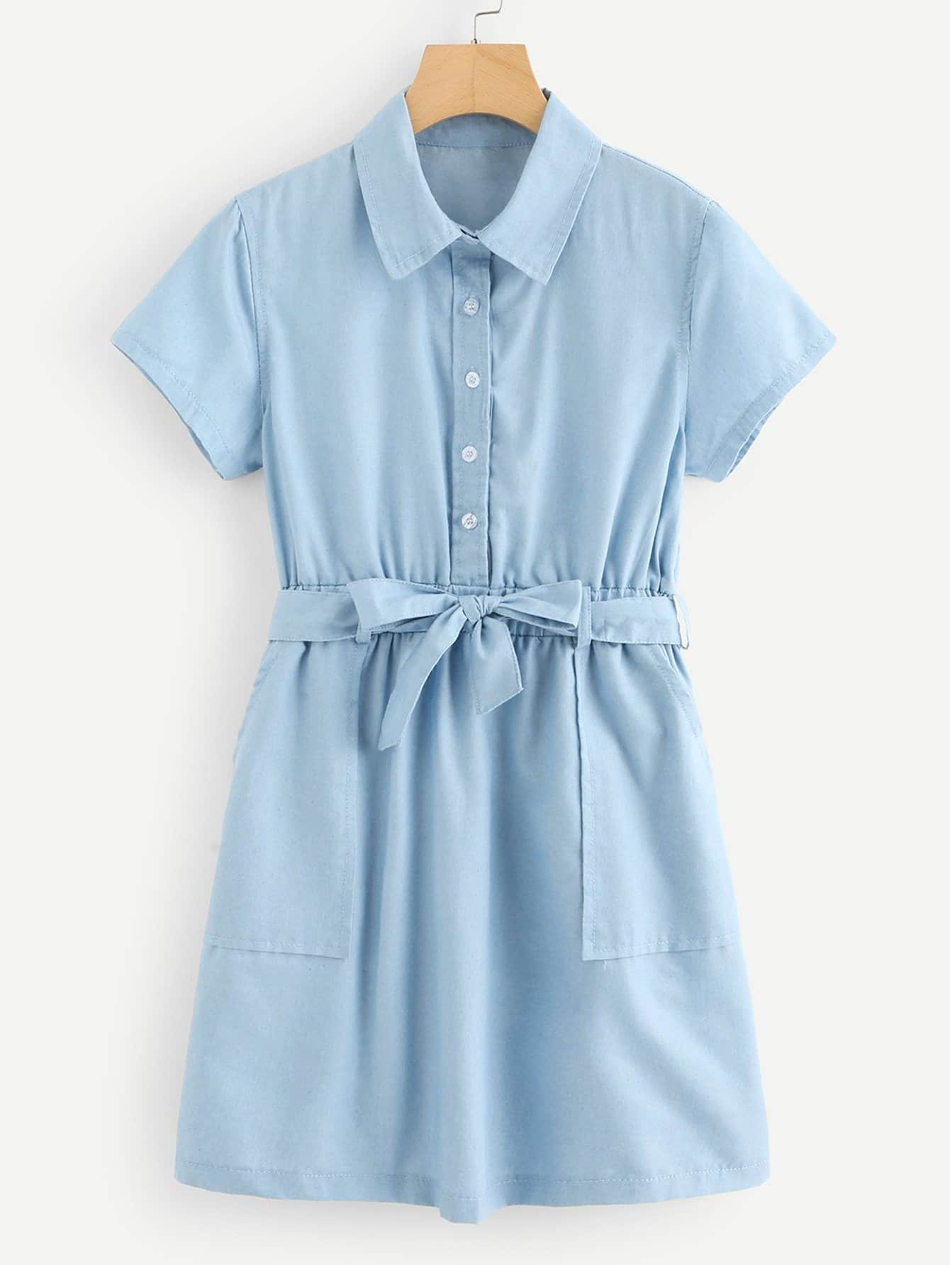 Belted Denim Shirt Dresss