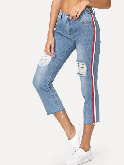 Stripe Tape Side Ripped Jeans