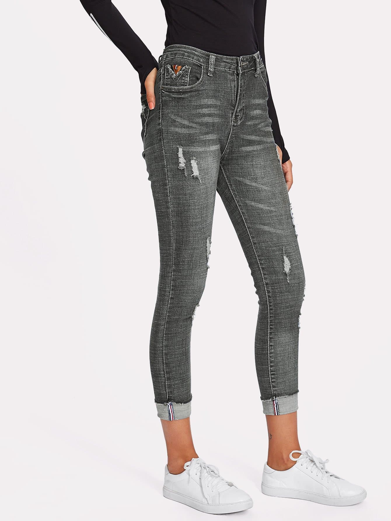Rolled Hem Ripped Skinny Jeans solid rolled hem pants