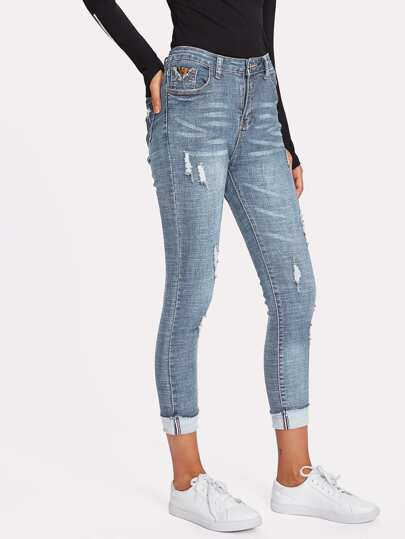 Роллинг Хем Ripped Skinny Jeans