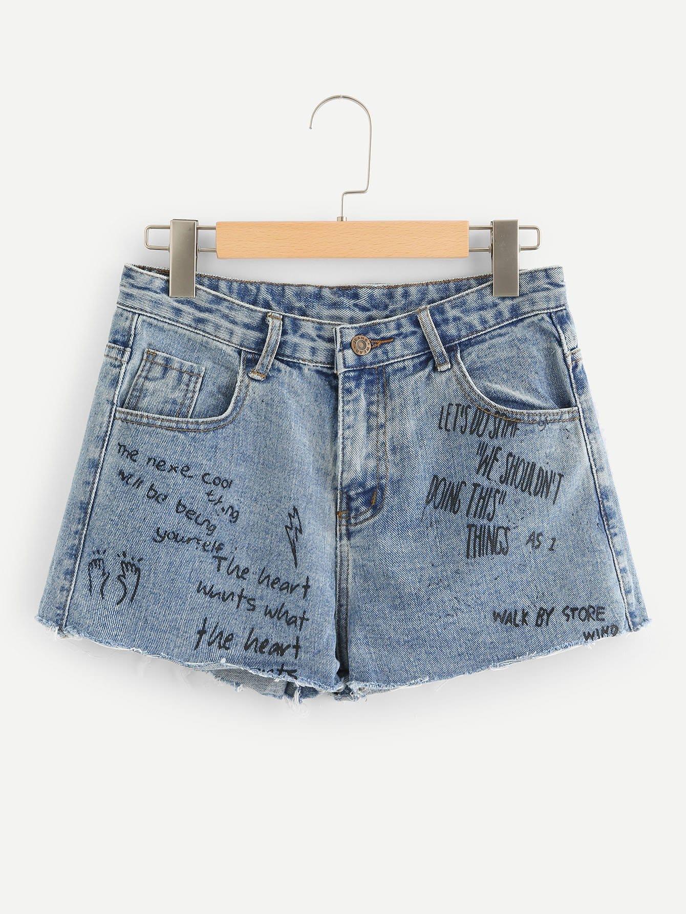 Letter Print Raw Hem Denim Shorts цена 2017