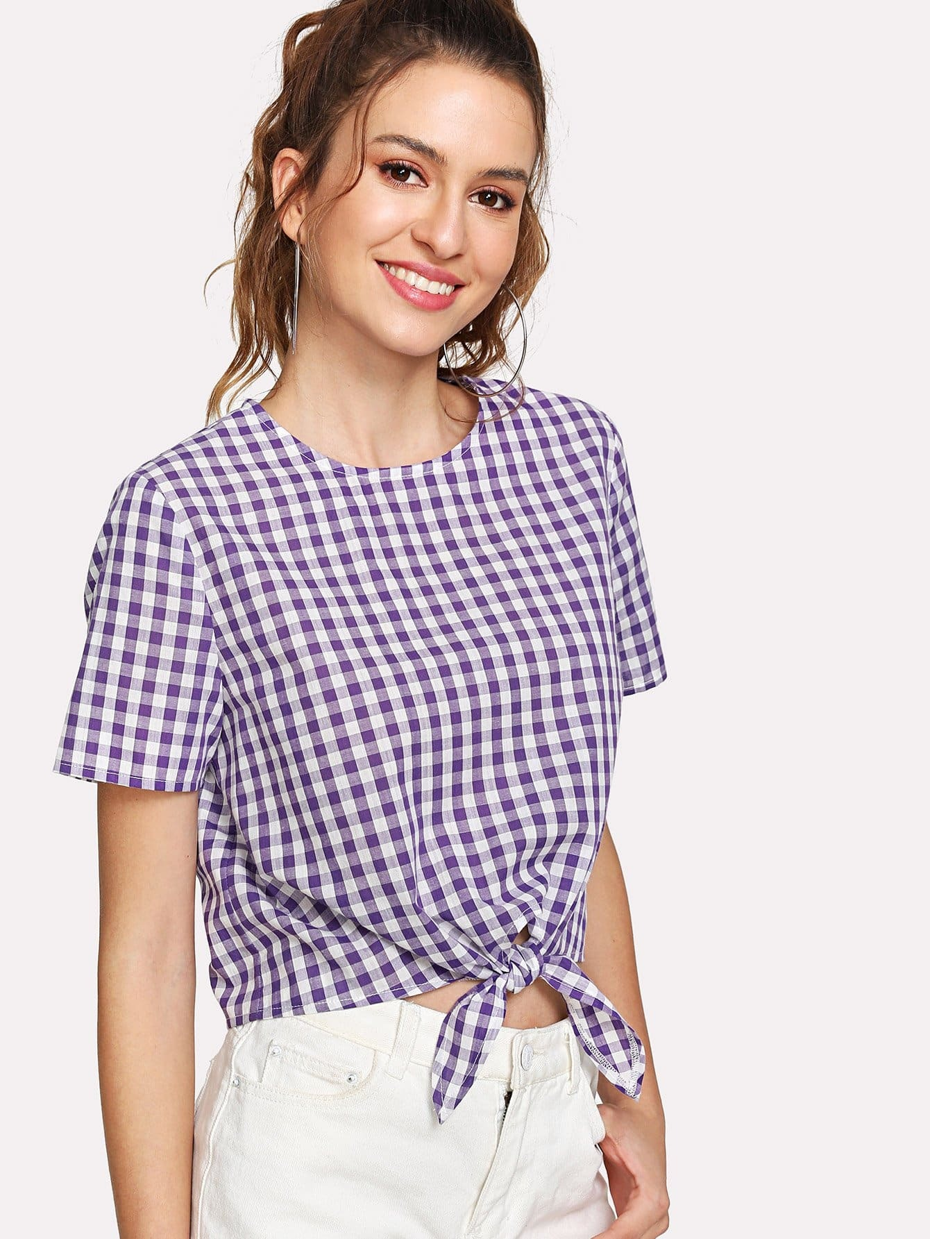 Knot Front Keyhole Back Plaid Top knot front keyhole back flounce sleeve striped top