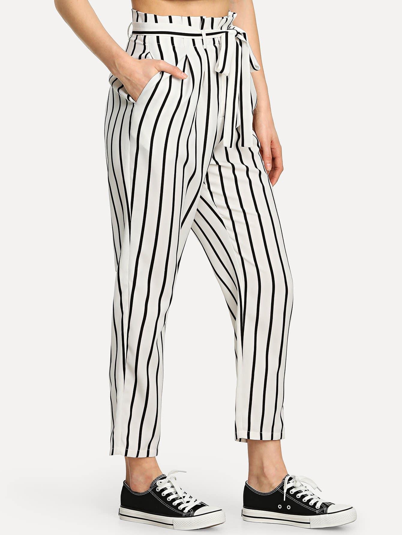 Self Tie Waist Striped Tapered Pants striped ruffled waist self tie pants