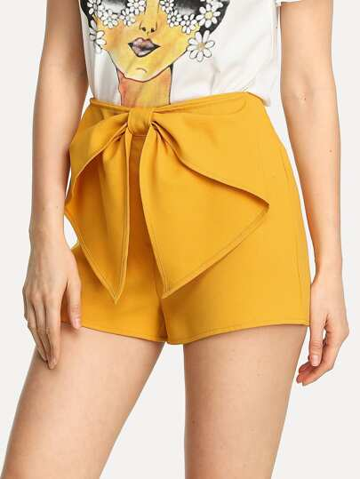 Exaggerated Bow Front Zip Side Shorts
