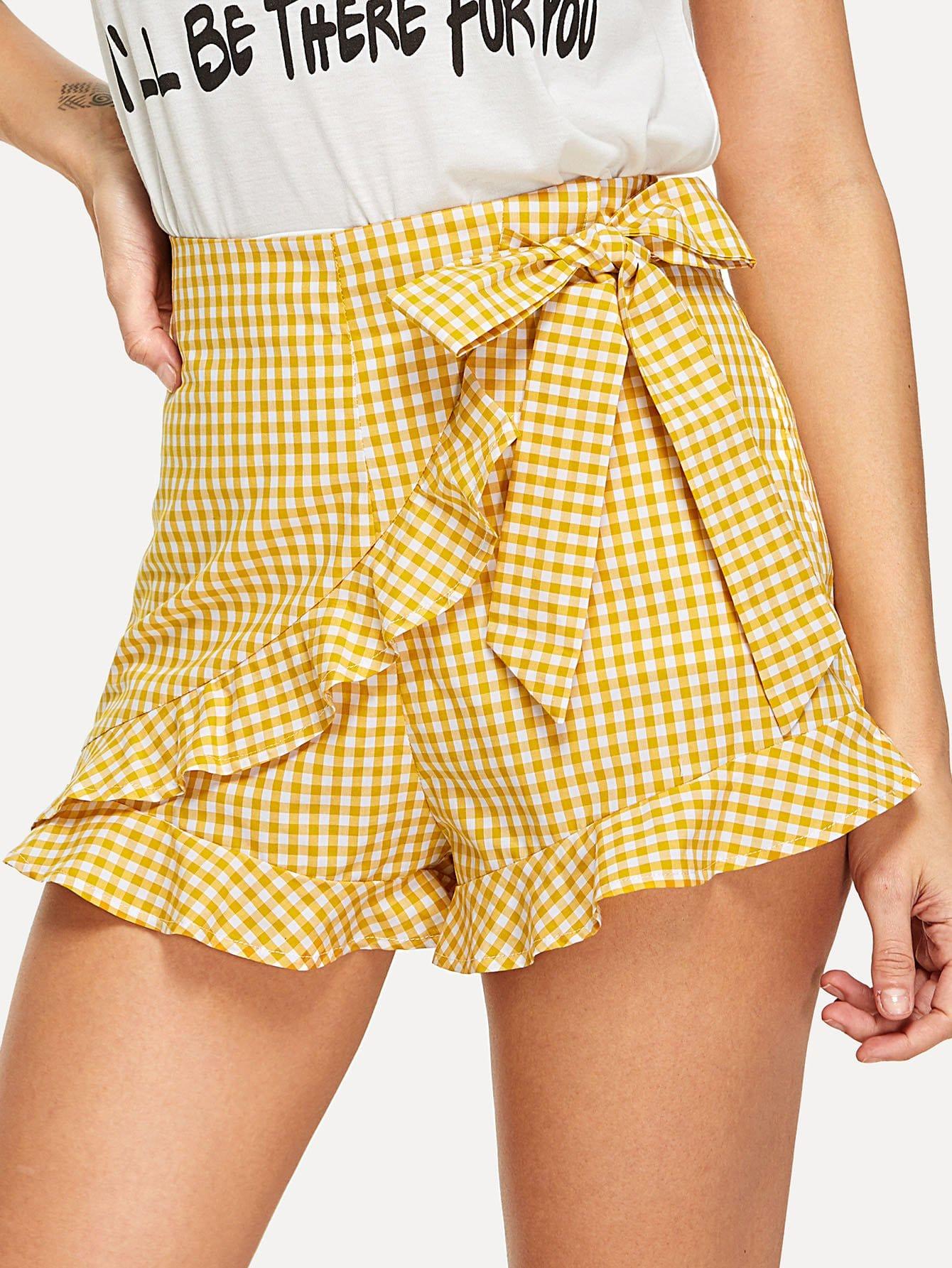 Tie Waist Ruffle Hem Plaid Wrap Shorts knot waist ruffle hem wrap gingham shorts