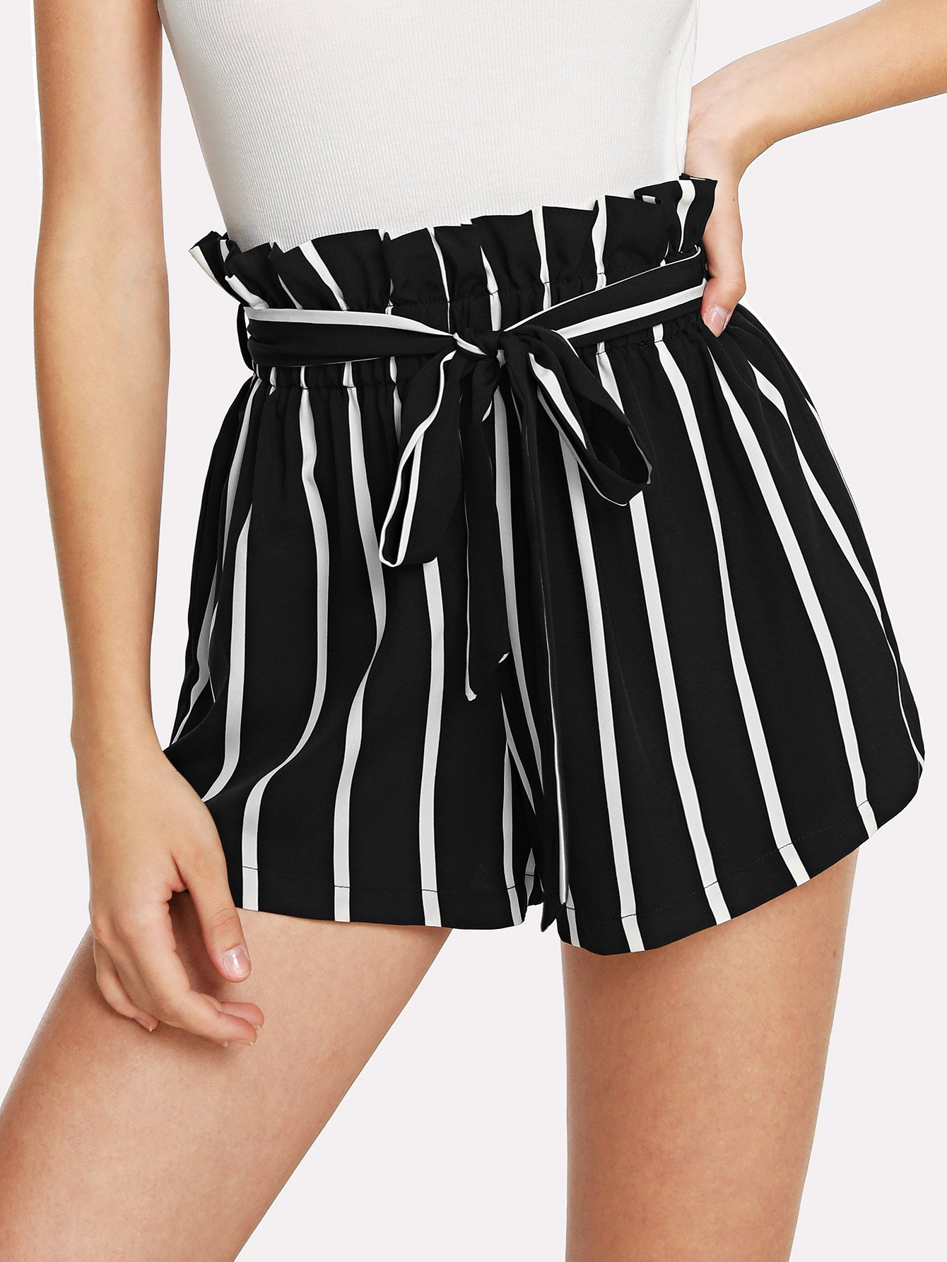 Self Tie Waist Frill Trim Striped Shorts striped ruffled waist self tie pants