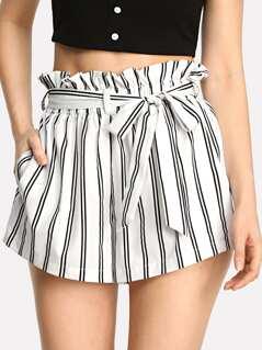 Striped Self Tie Waist Pocket Side Shorts