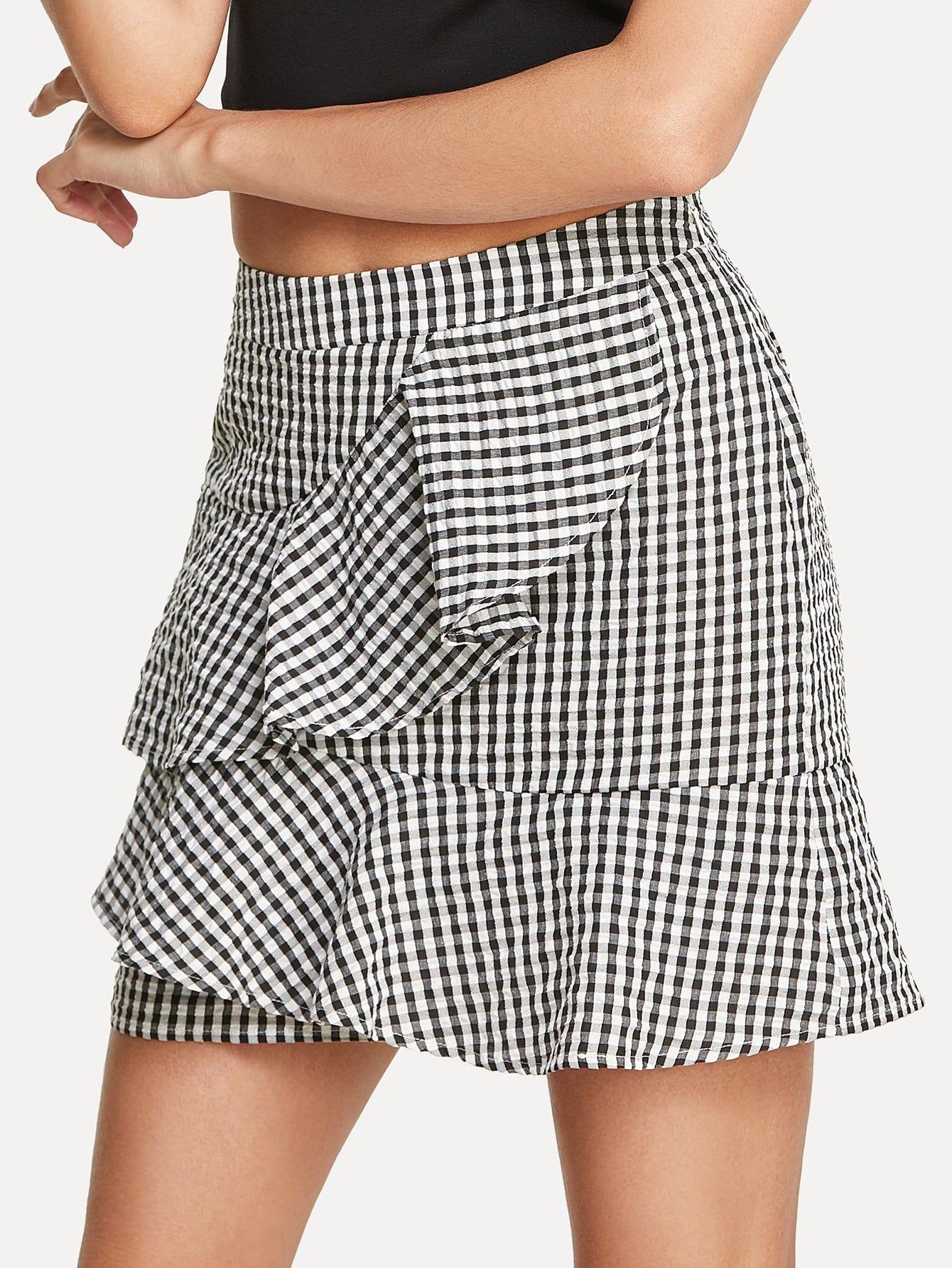Layered Ruffle Trim Plaid Skirt