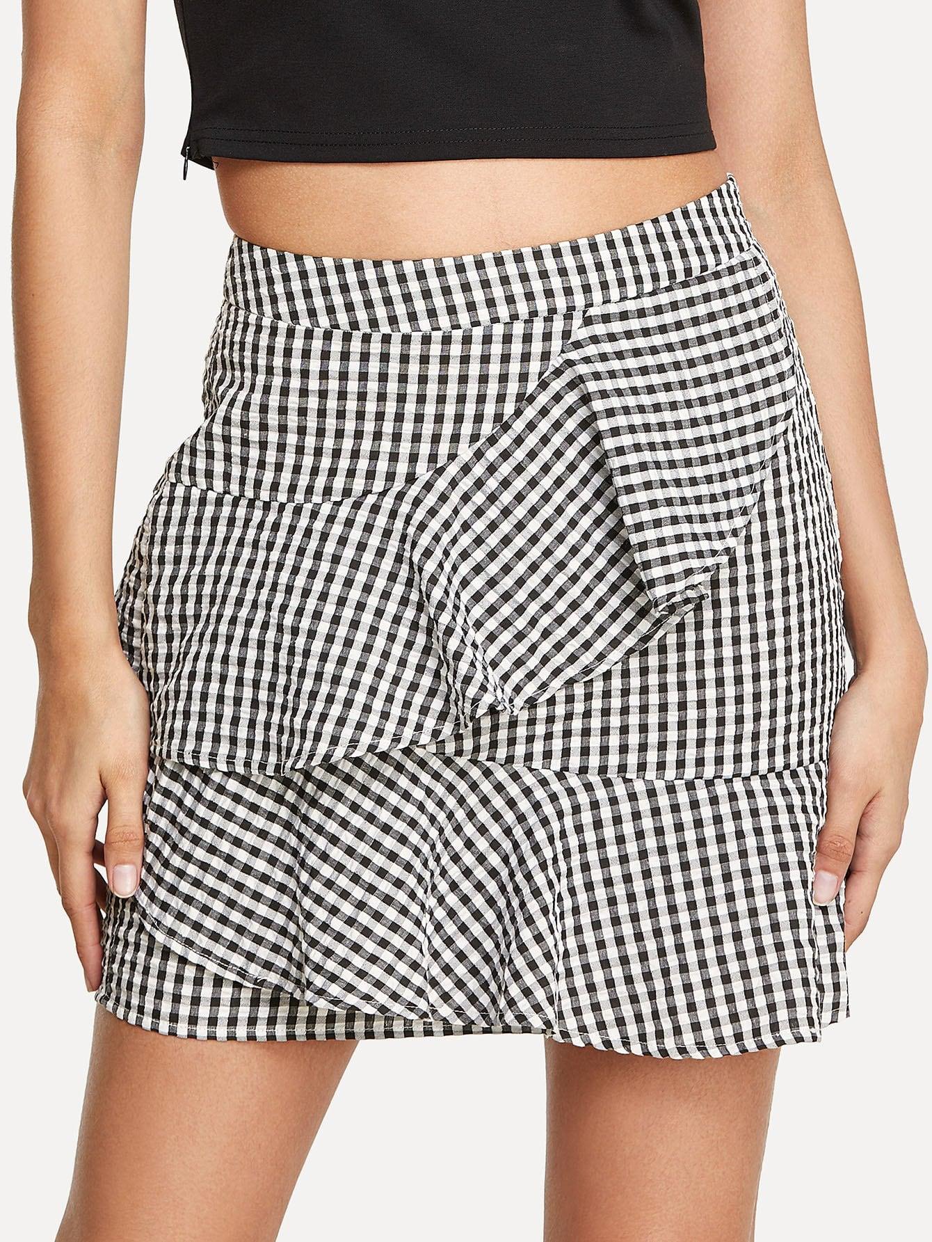 Layered Ruffle Trim Plaid Skirt layered ruffle skirt pants