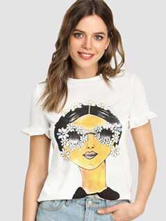 Ruffle Cuff Portrait T-shirt