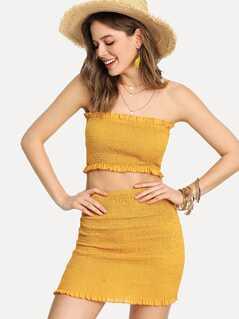 Frill Trim Shirred Bandeau Top & Skirt Set
