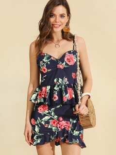 Floral Print Ruffle Hem Cami Top & Overlap Skirt Set