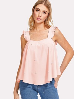 Pearl Embellished Frill Trim Top