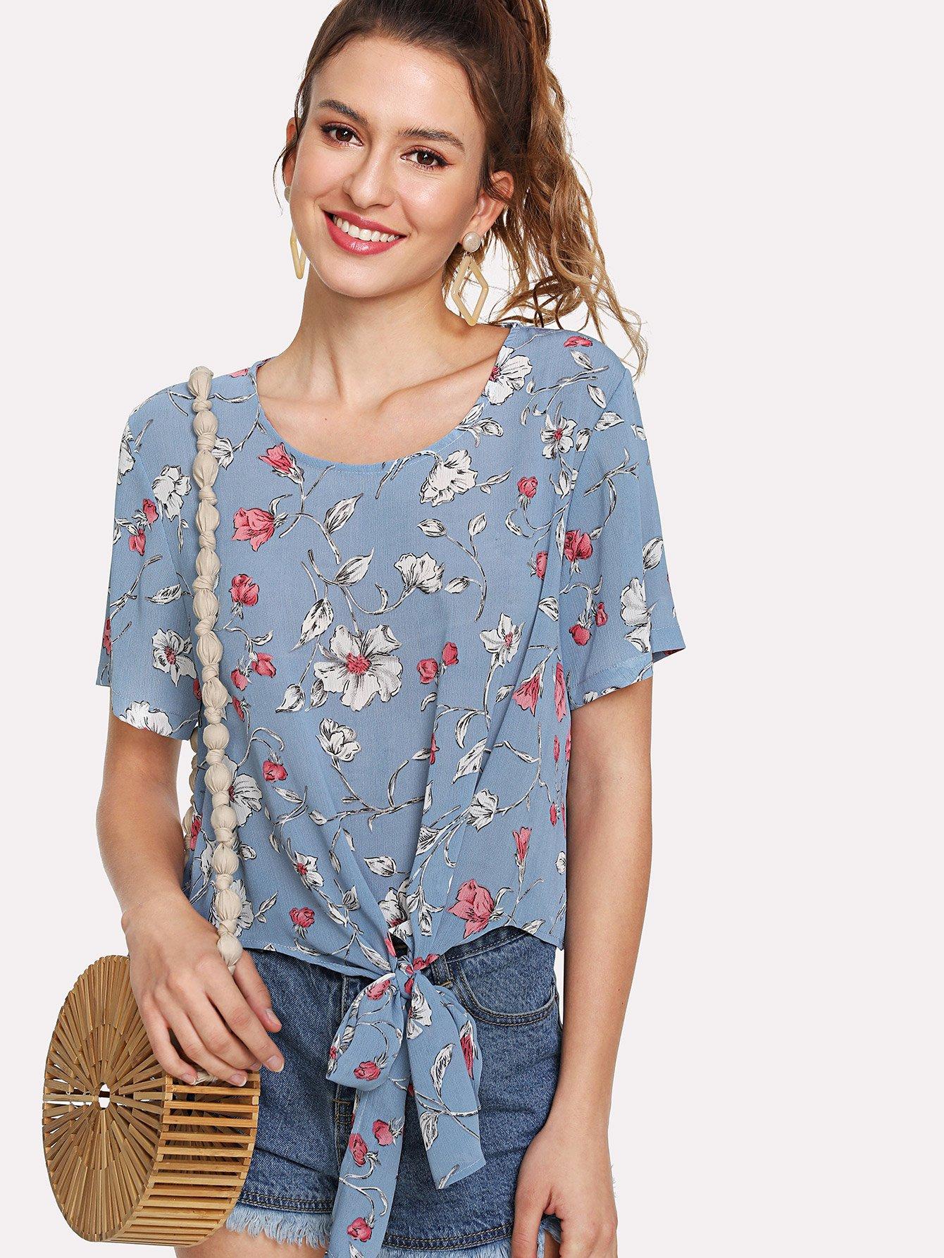 Tie Front Botanical Print Blouse self tie front floral print blouse