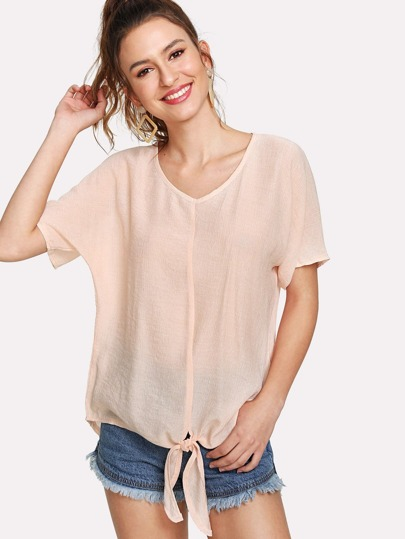 Dolman Sleeve Knotted Top