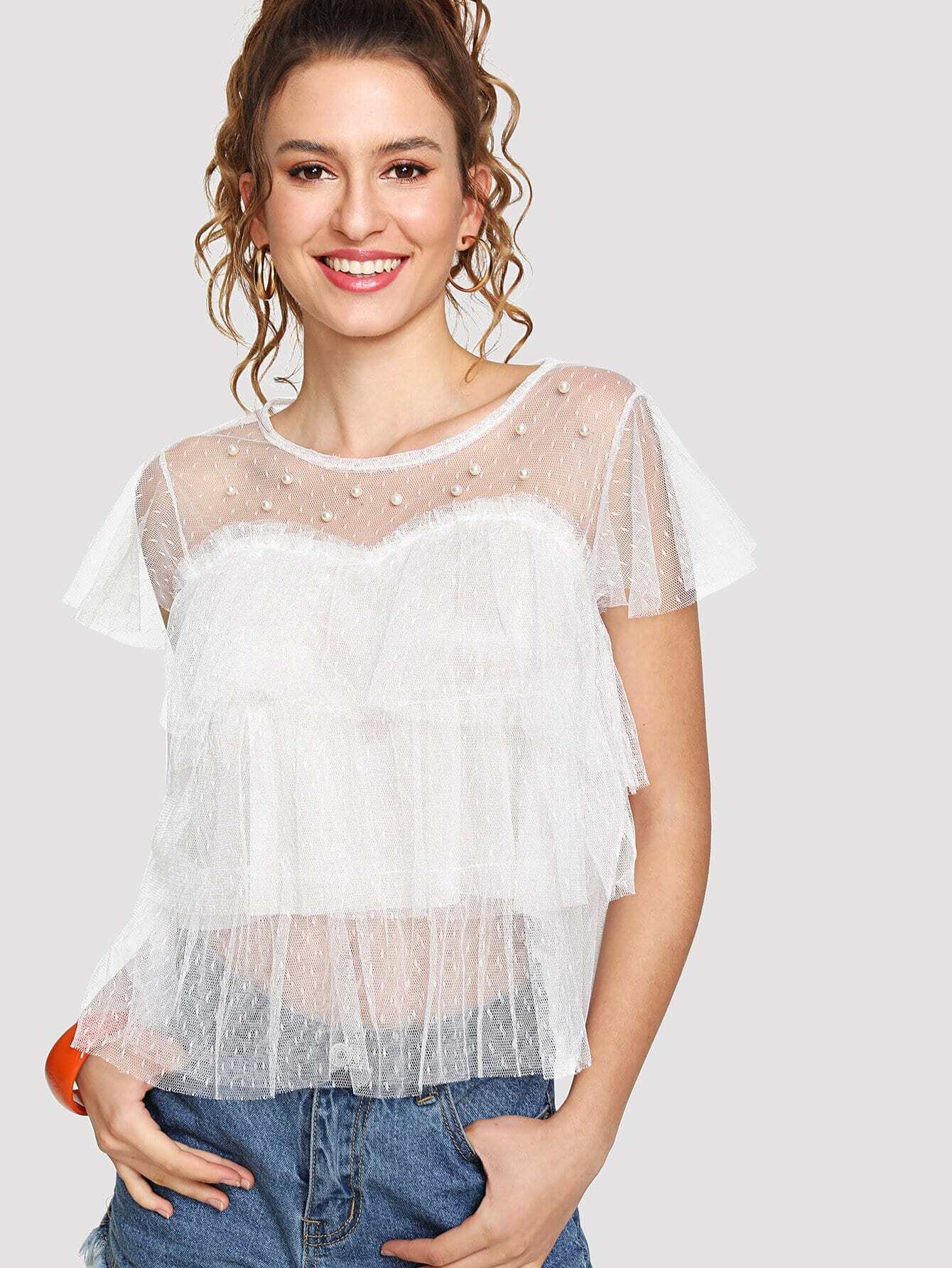 Faux Pearl Beading Tiered Mesh Top pearl beading layered sleeve top
