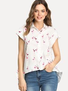 Flamingo Print Dip Hem Shirt