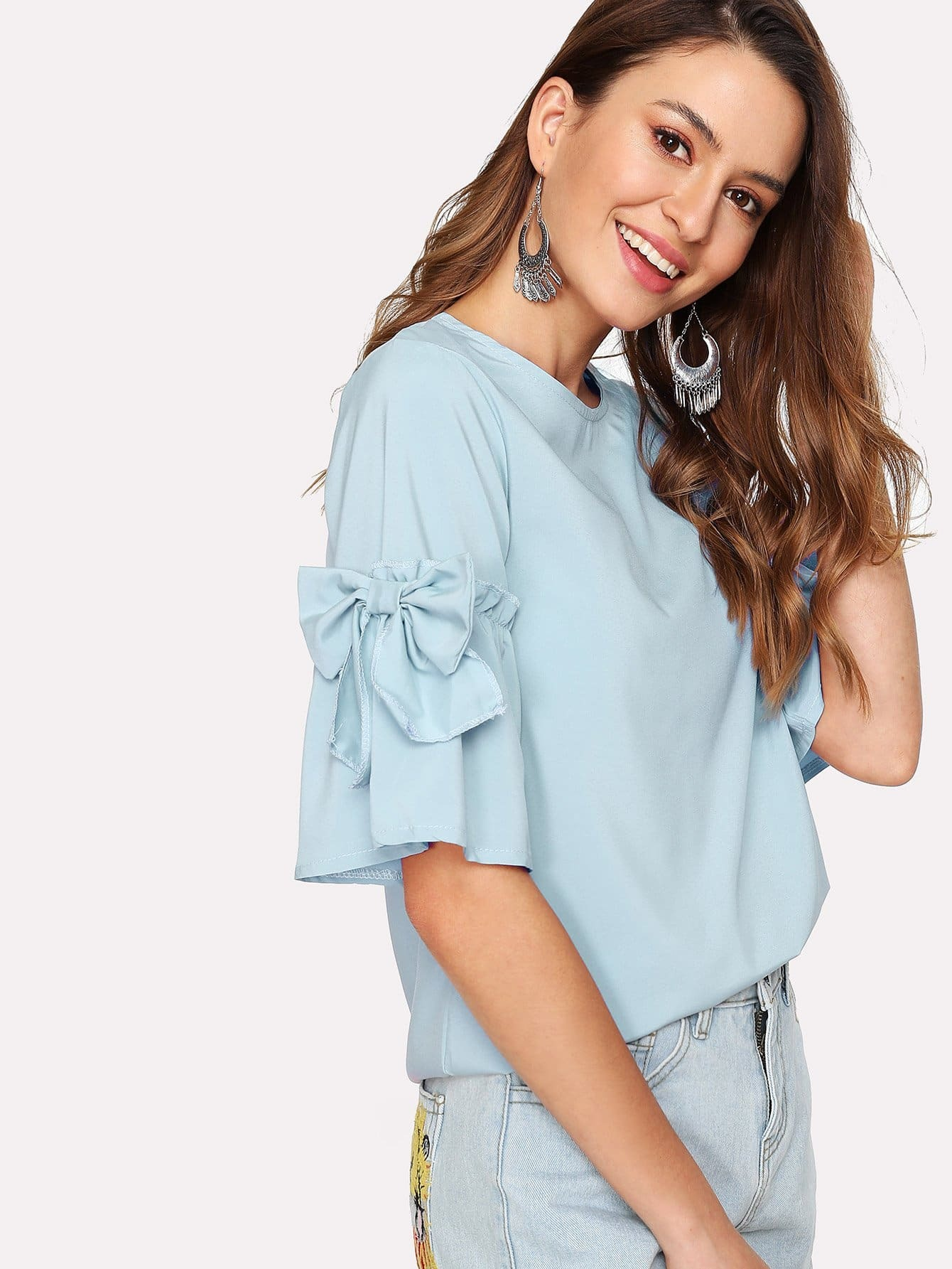 Bow Detail Flounce Sleeve Keyhole Back Blouse bow detail fluted sleeve laser cut scalloped blouse