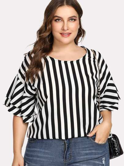 Contrast Stripe Tiered Sleeve Blouse