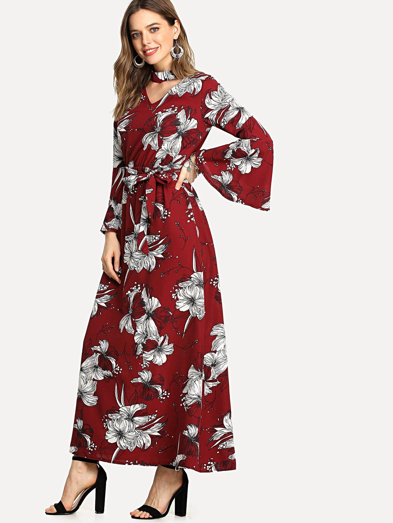 Cut Out Neck Florals Self Tie Dress