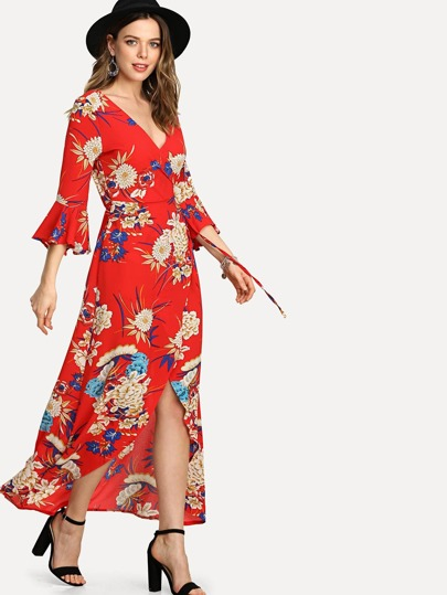 Random Botanical Print Wrap Dress