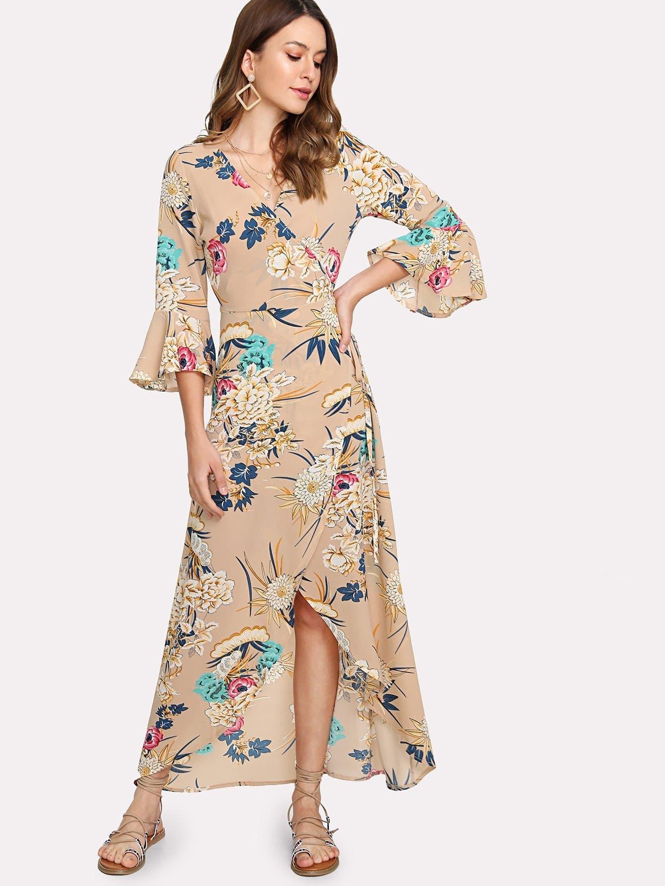 Random Botanical Print Wrap Dress botanical print drawstring detail wrap blouse