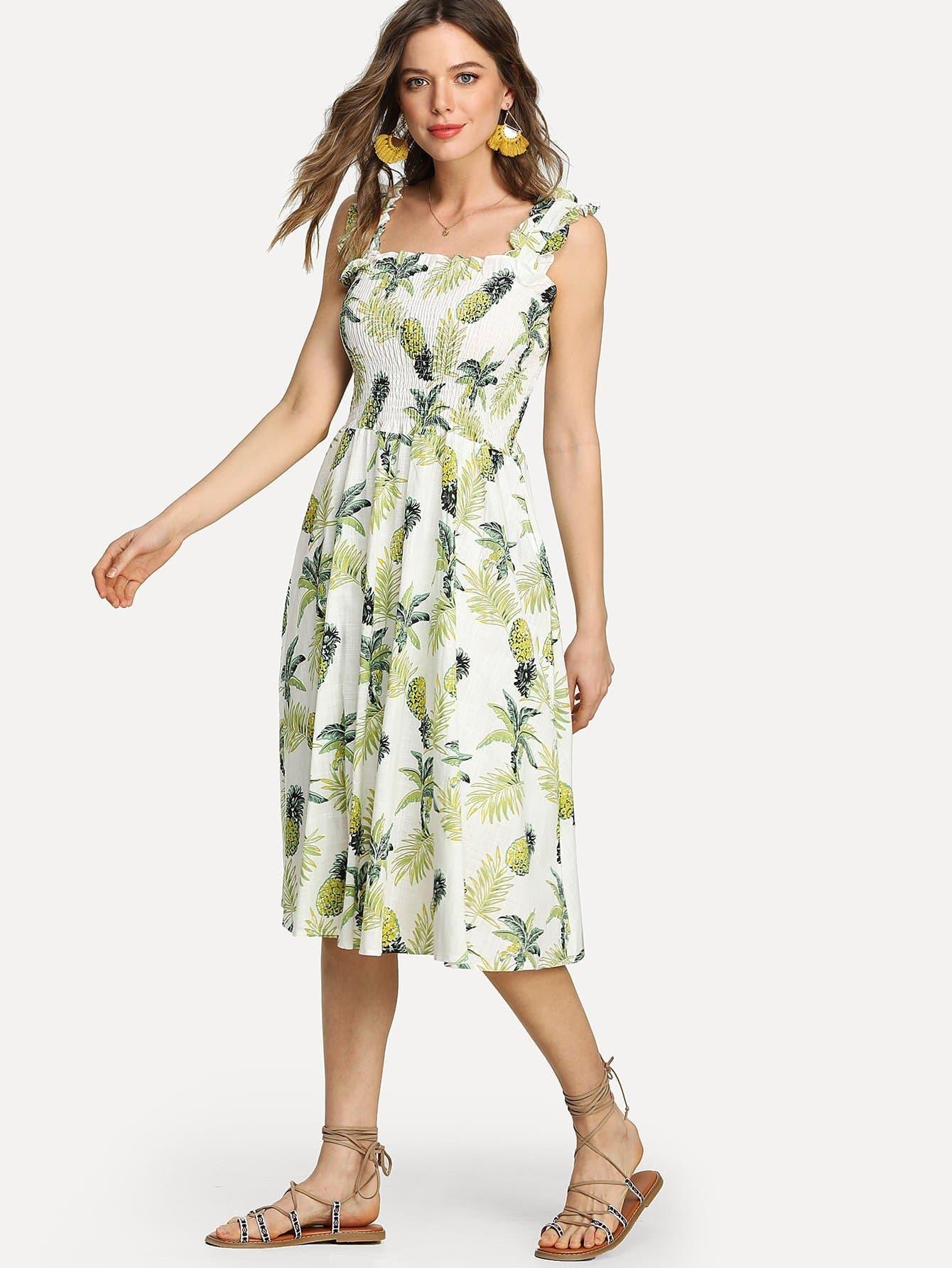 все цены на Pineapple Print Frill Trim Shirred Dress