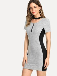 Contrast Panel Ribbed Bodycon Dress