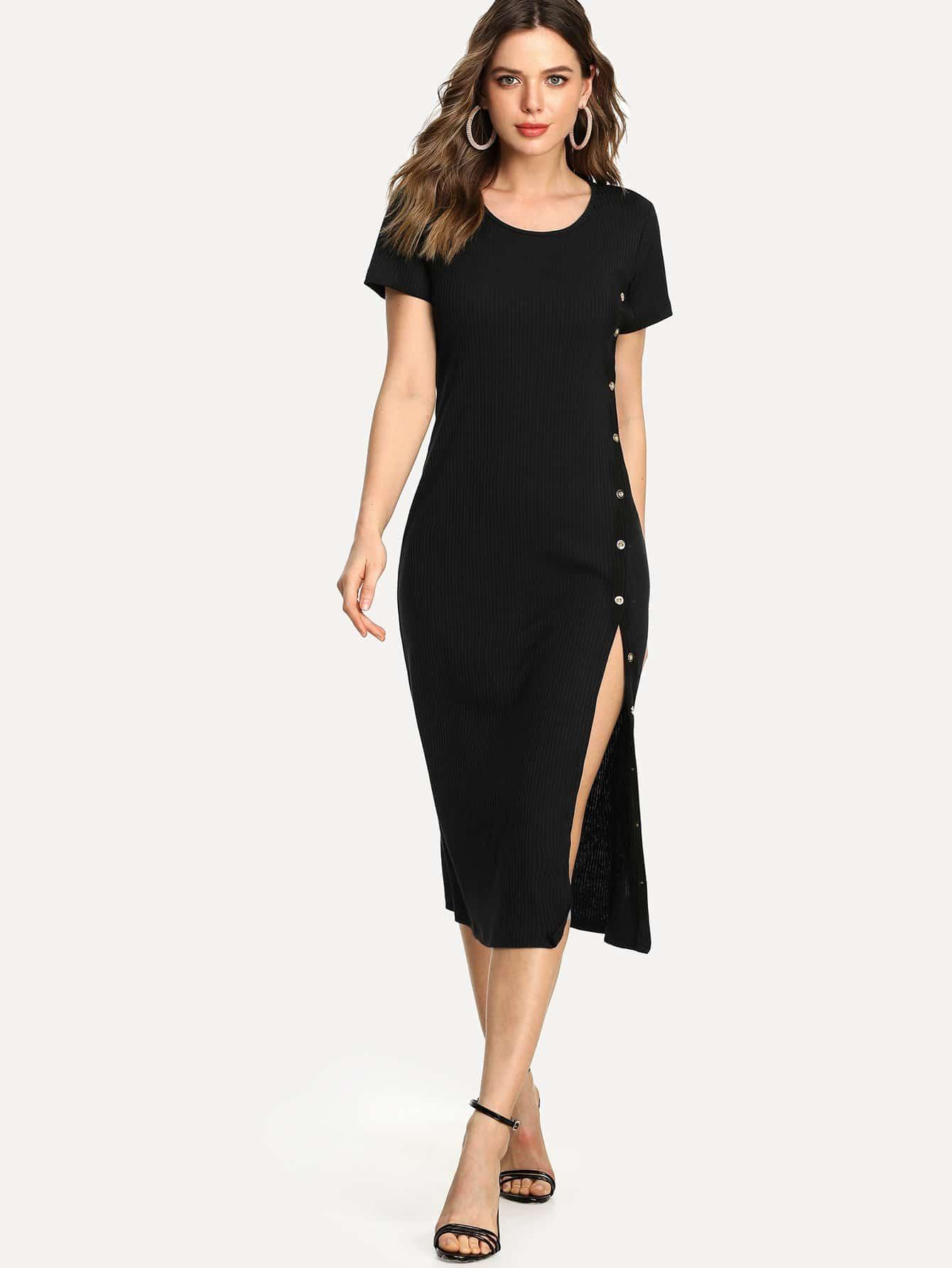 Split Hem Ribbed Dress solid split hem cami dress