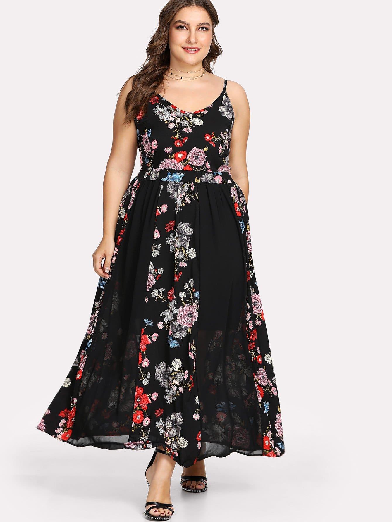 Random Botanical Print Cami Dress random flower print dress