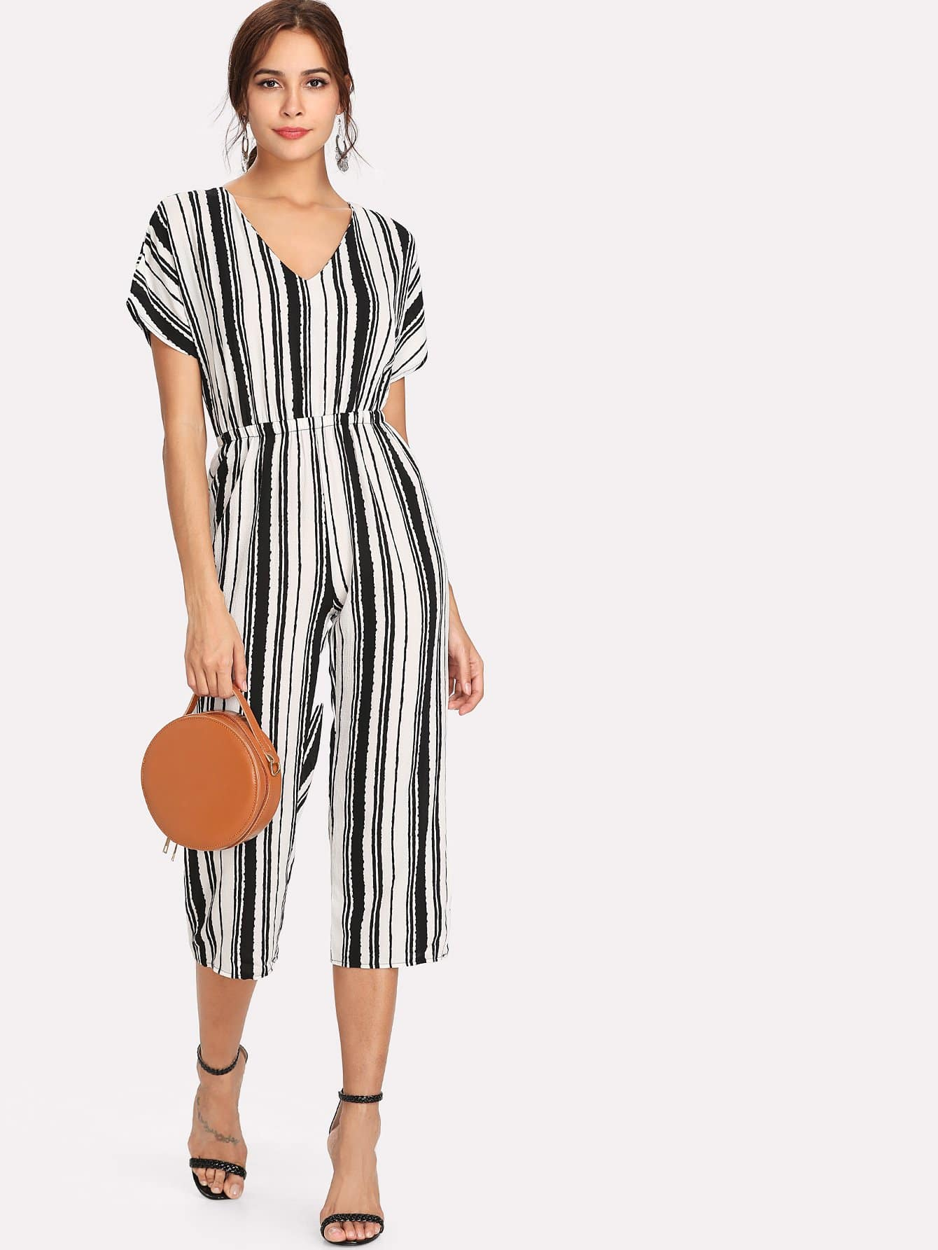 Open Back Tie Detail Striped Jumpsuit ring detail striped pinafore jumpsuit