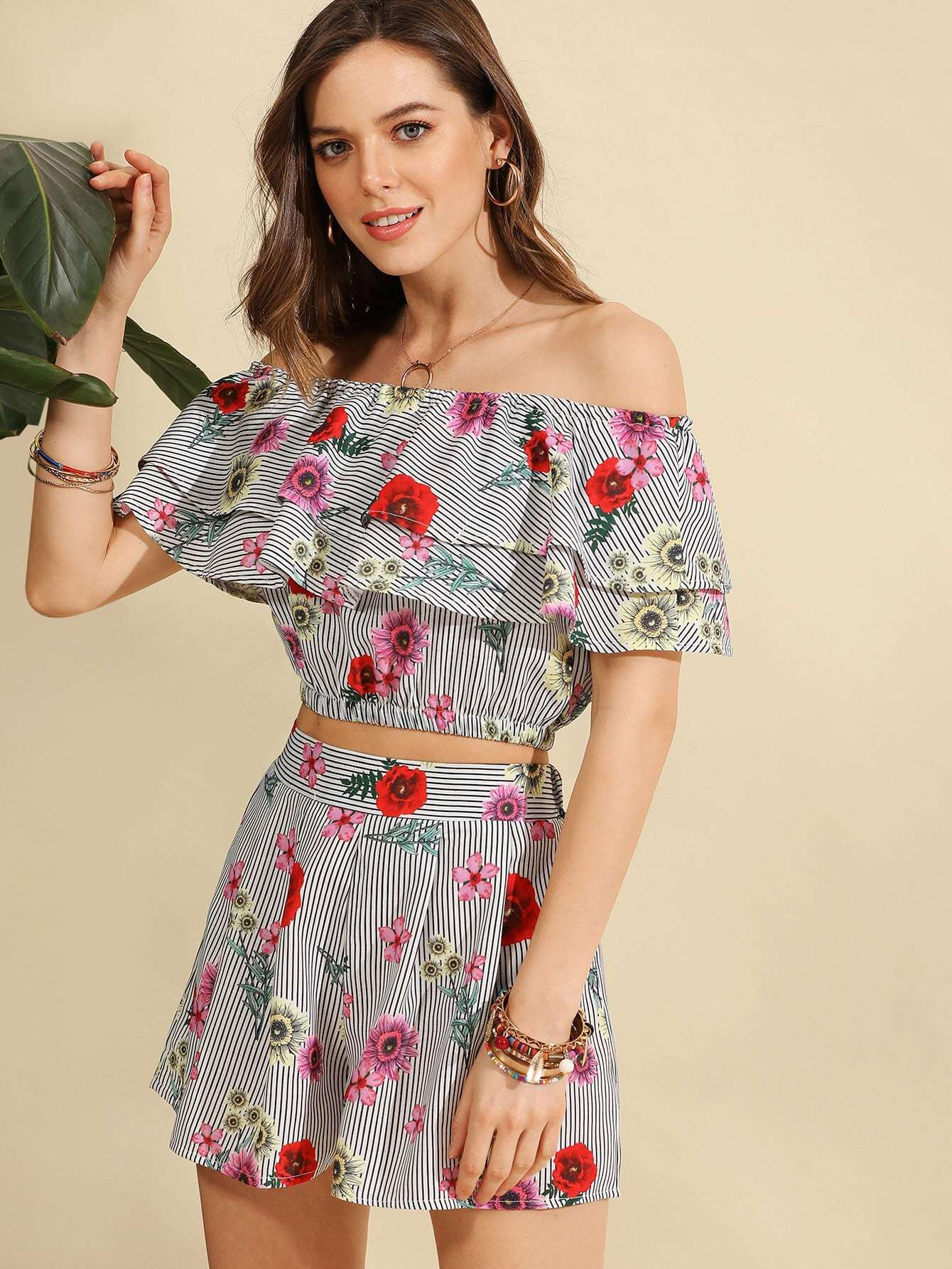 Flounce Layered Florals Top With Shorts allover florals bow tie detail frill top with shorts