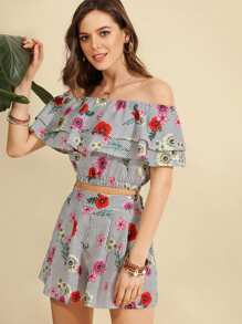Flounce Layered Florals Top With Shorts