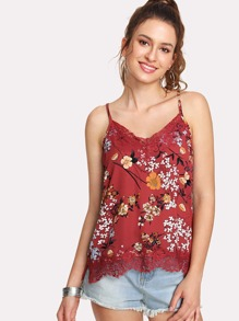 Random Botanical Print Lace Trim Cami Top
