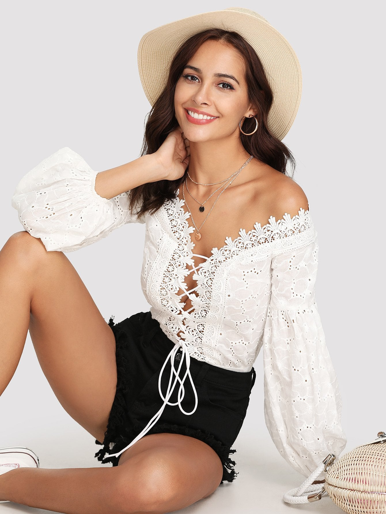 Lace Trim Plunge Neck Eyelet Embroidered Bodysuit embroidered lace panel bodysuit