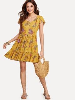 Flower Print Button Up Ruffle Dress