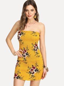 Shirred Floral Bandeau Dress