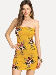 Shirred Floral Bandeau Dress