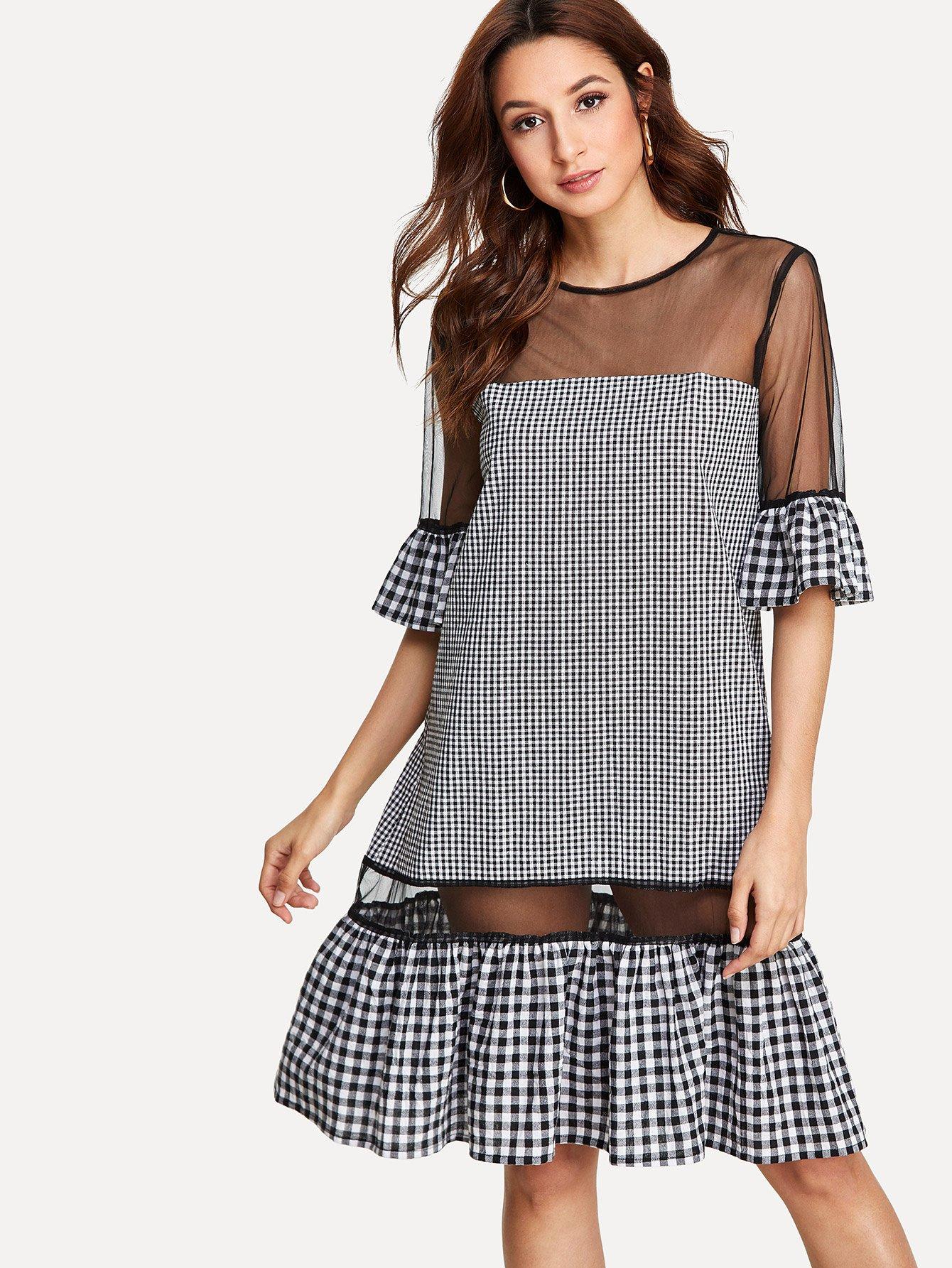 Mesh Insert Ruffle Hem Gingham Dress ruffle hem gingham contrast mesh skirt