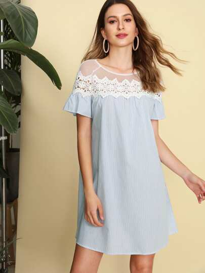 Lace Applique Mesh Shoulder Striped Dress