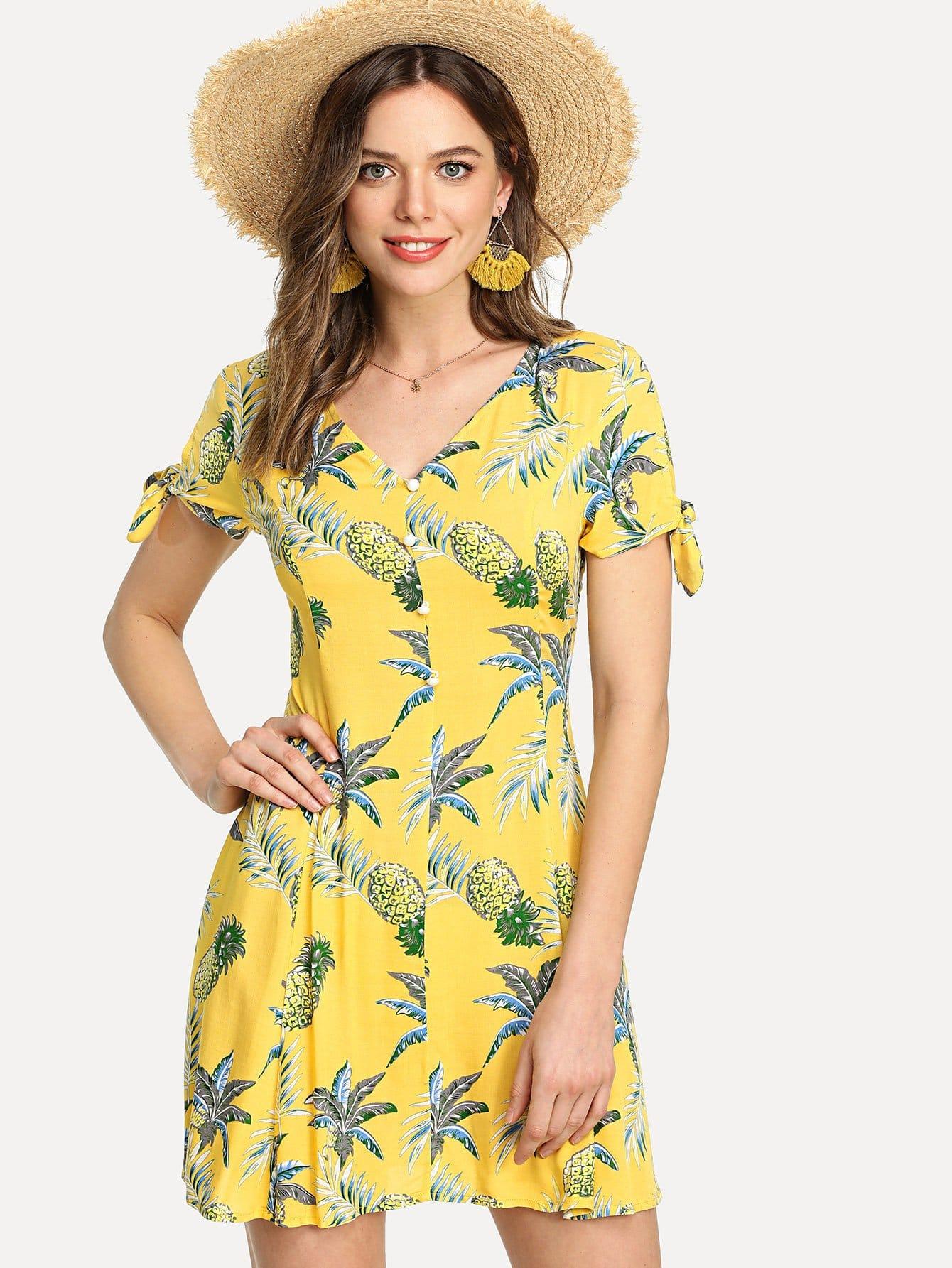 все цены на Knot Cuff Button Front Tropical Dress