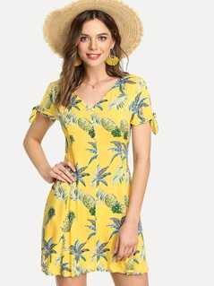 Knot Cuff Button Front Tropical Dress