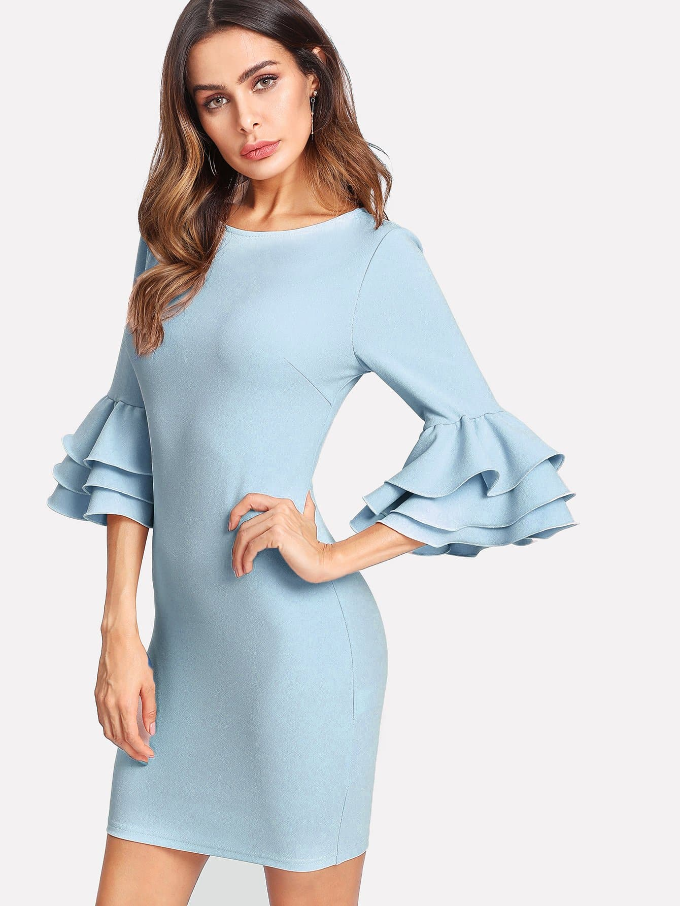 Exaggerate Layered Ruffle Sleeve Dress pearl detail layered frill sleeve top