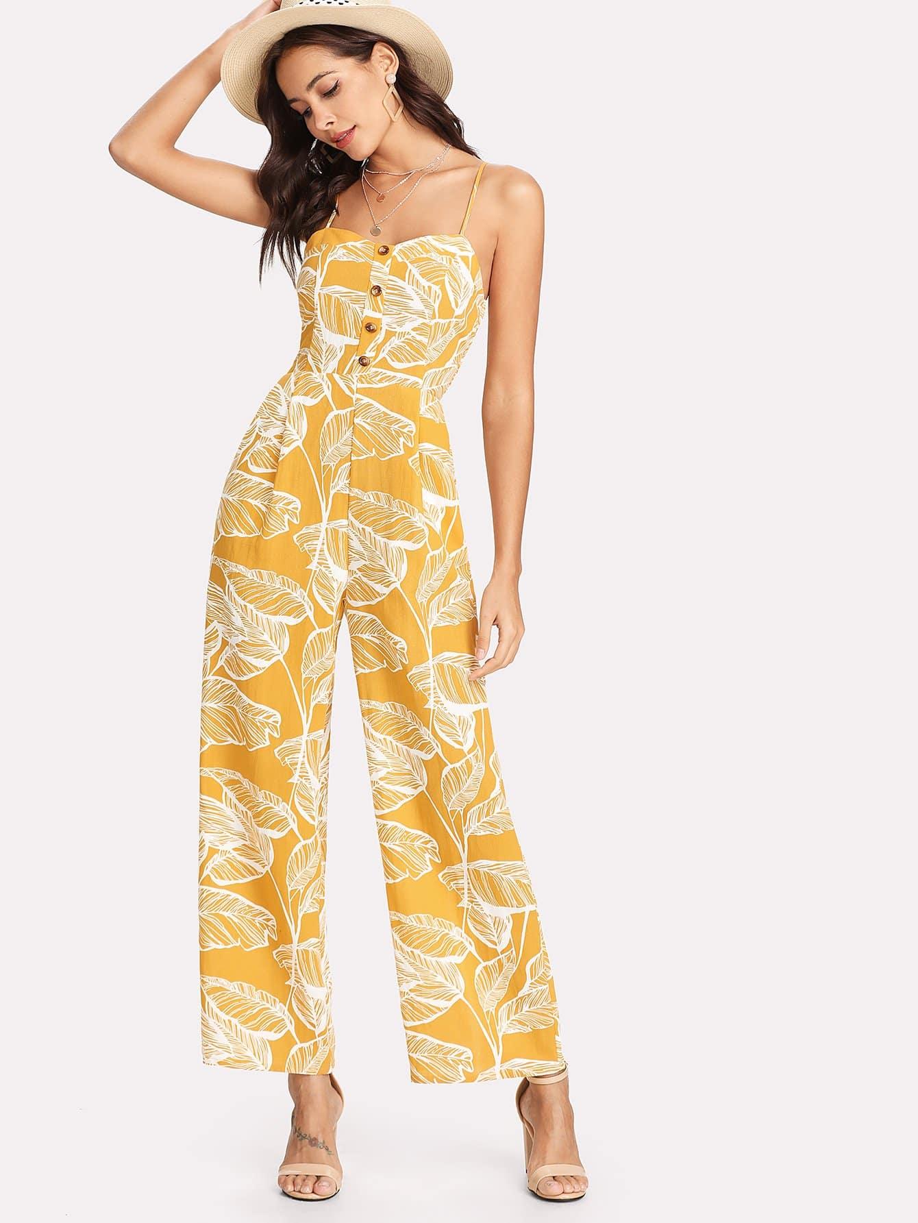 Palm Leaf Print Shirred Back Cami Palazzo Jumpsuit shirred waist zip back fit