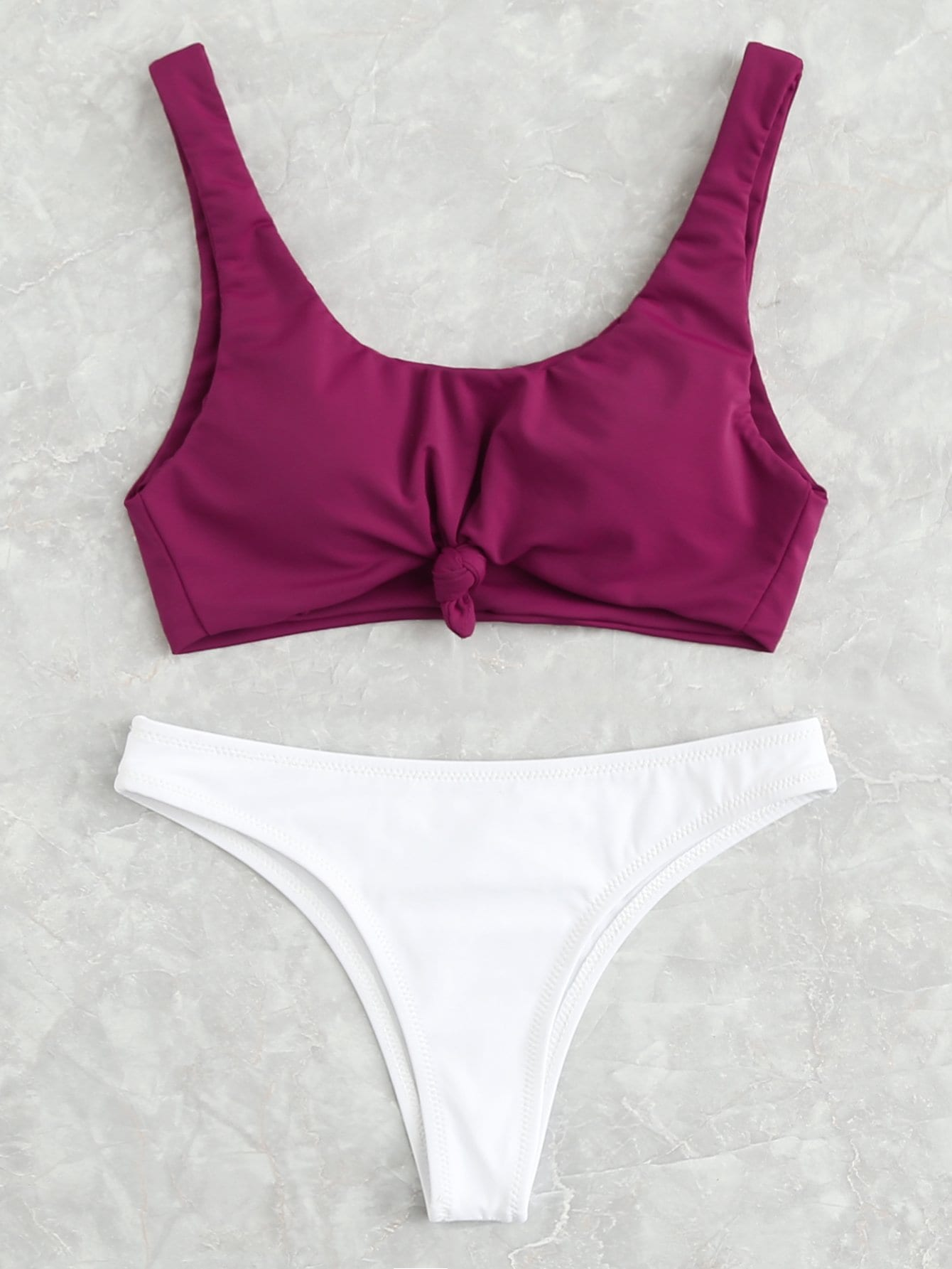 Two Tone Knot Bikini Set drop crotch loose two tone pants