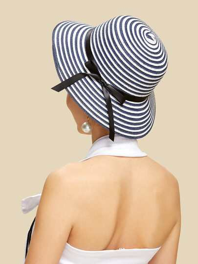 Bow Band Striped Straw Hat
